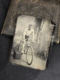 1/6 plate tintype photo young man on bicycle