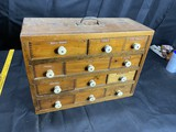 Antique Portable Cabinet with watch parts and more