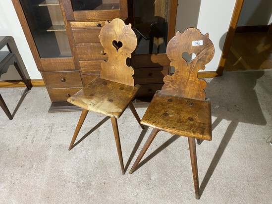 2 Unusual Antique Wood Chairs