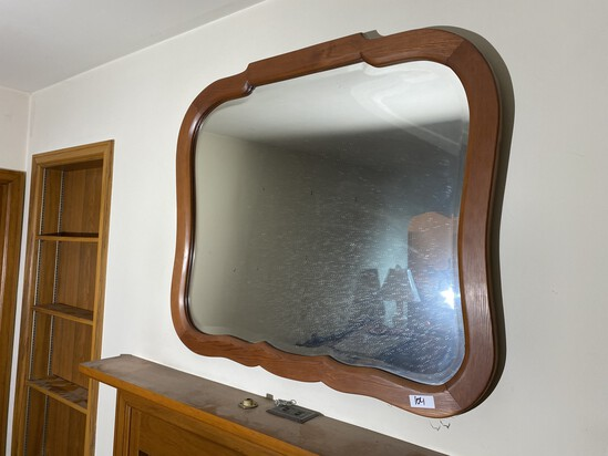 Vintage Bevelled glass mirror with wood frame