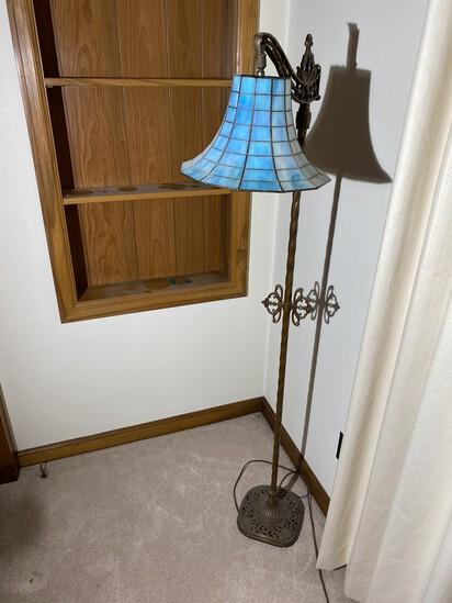 Antique floor lamp w/blue iridescent shade