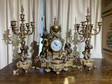Antique Made in Italy Garniture Clock & Candlesticks set