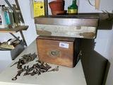 Old Keys, Oak Card Catalog Box, Safe Deposit