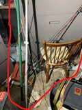 Chair, fishing rods, branch trimmers lot