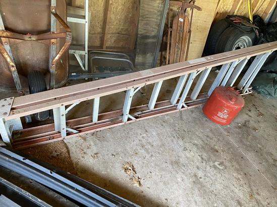 Vintage 10' fiberglass ladder and John Deere gas can