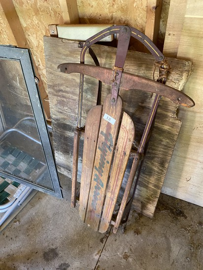 Antique Metal and Wood Sled