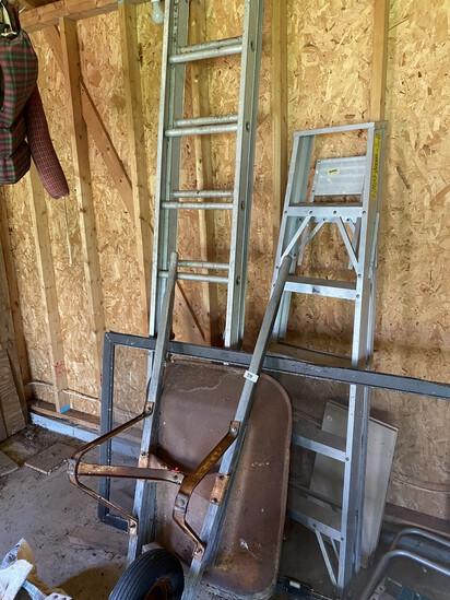Older Wheelbarrow and ladders lot