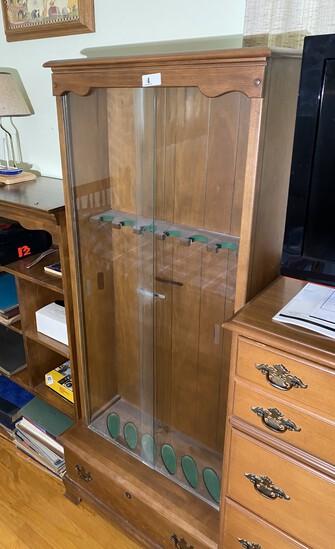 Vintage Wooden Gun Case with Glass Door