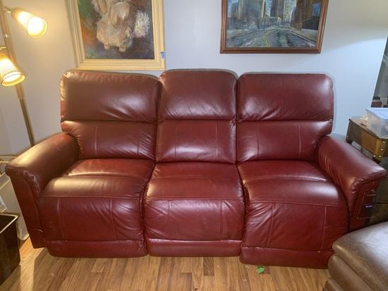 Laz-Boy Red Leather Reclining Sofa.