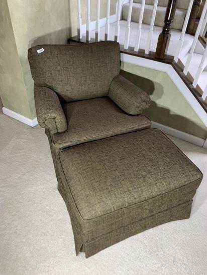 Nice Overstuffed Armchair and Ottoman
