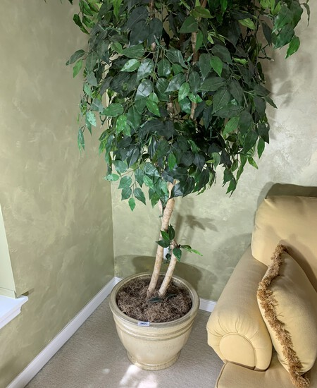 Light up artificial tree in large planter