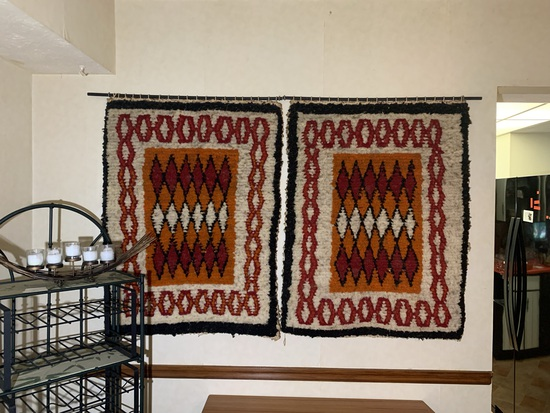 2 Vintage Wool Tapestries with Great Colors