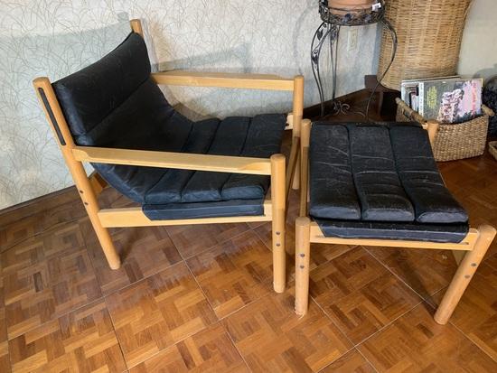 Nice Danish Mid Century Modern  Style Chair & Ottoman.  No Markings Found