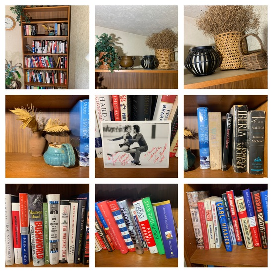 Bookcase with Contents - Decorative Items, Books & More.  See Photos for Titles.