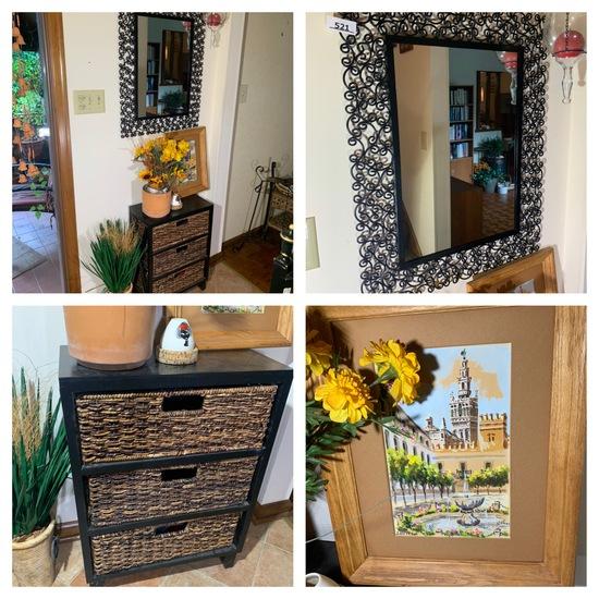 Mirror, Wicker Cabinet Shelf, Art Work, Wind Chimes & More