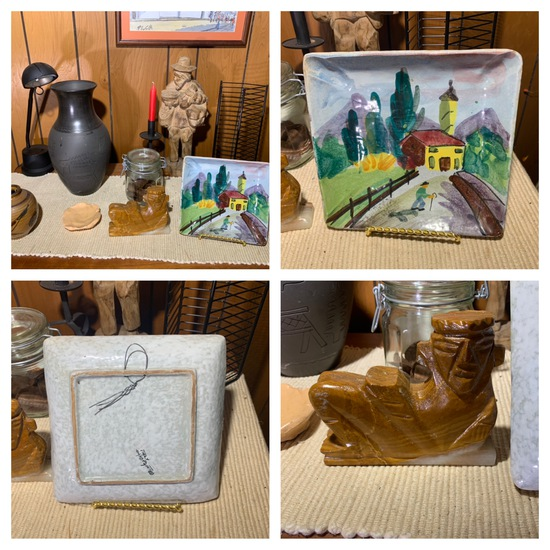 Group of Decorative Items, Stoneware Plate Carved Figurine & More.