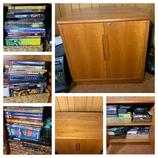 Mid Century Modern  Danish Style Locking Record Cabinet (No Key) & Contents - DVD'S & VHS