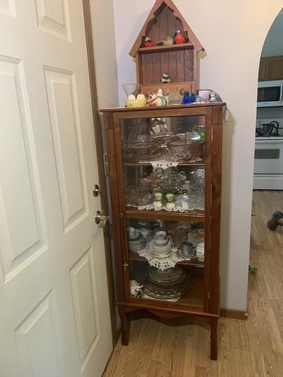 Antique Oak and Glass Curio Cabinet