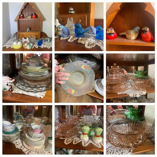 Curio Cabinet Contents - Goebel Birds, Glassware, Depression glass etc