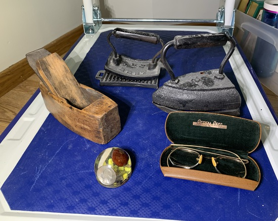 Sad Irions, Block Plain, Glasses, & Paperweight