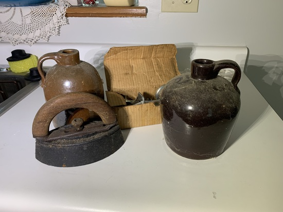 2 Stoneware Small Jugs, Sad Irion & Small Meat Grinder