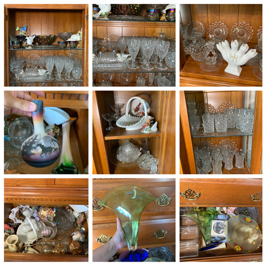 Contents of china cabinet - Great Cut Glass, Fostoria, Blenko, Pottery, & More