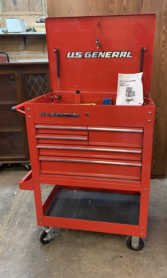 U.S. General 5 Drawer Roller Tool Box Cart with Keys