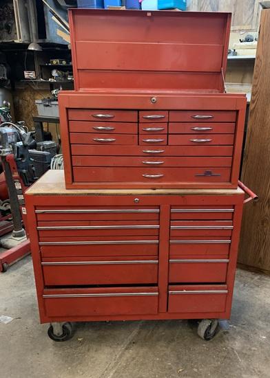 Napa Top Tool Box & Unknown Maker Bottom Box.  NO KEYS