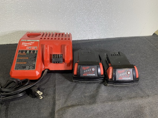Milwaukee M12 & M18 Charger with 2 M18 Lithium Batteries
