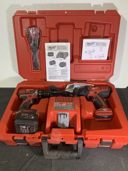 Milwaukee Cordless Drill Driver & Impact Wrench with Charger Battery & Case