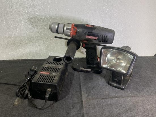 Craftsman 18 Volt Battery Charger, Craftsman Flashlight & Craftsman 1/2 in Hammer Drill