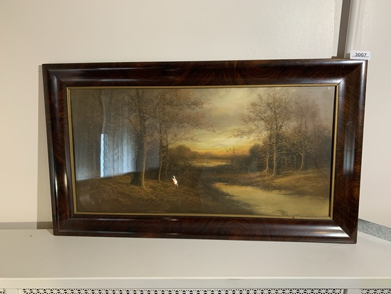 Antique Reverse Painted Scene in Frame
