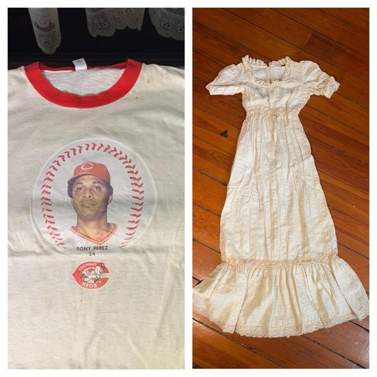 Vintage Tony Perez Reds Shirt & Antique Dress