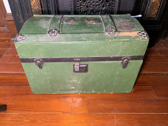 Antique Trunk with Green Paint