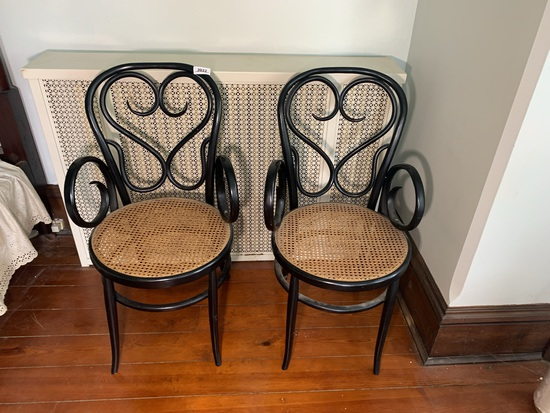 Pair of Bentwood Chairs with Cane Seats