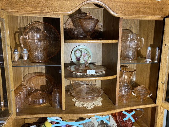 Cupboard lot of Pink Depression Glass