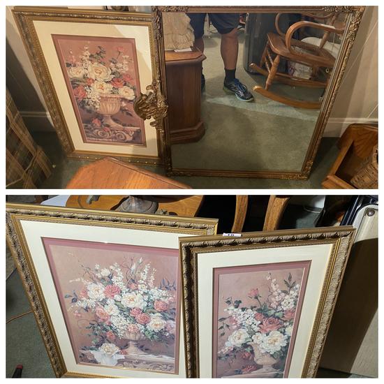 3 framed pictures plus antique mirror