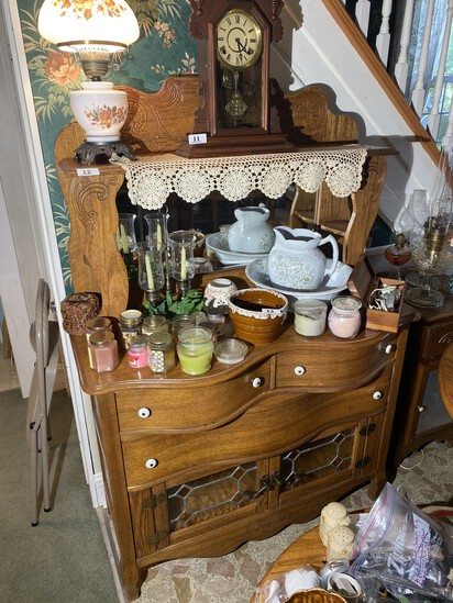 Antique Style Oak Server Cabinet With Mirror
