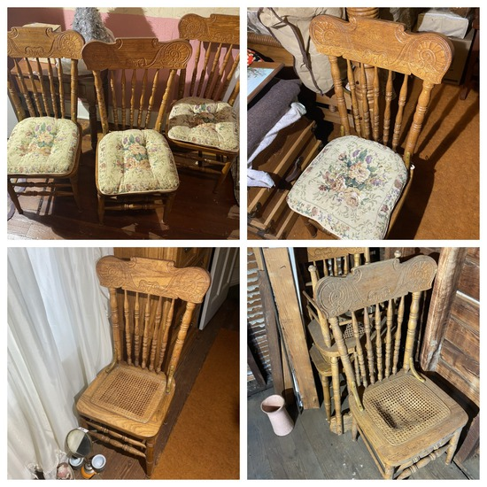 8 Antique style Pressed back dining Room Chairs