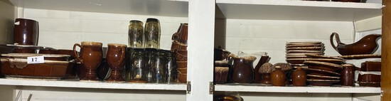 Very Large Lot of Vintage Hall Brown Drip Dinnerware