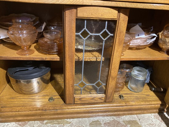 Cupboard lot of mostly Pink Depression Glass