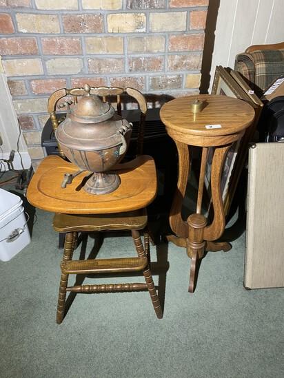 High Chair, Pedestal, Copper coffee pot, stamp dispenser
