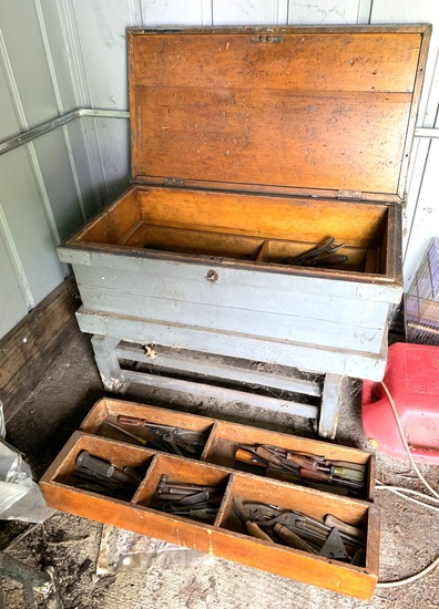Nice Antique Tool Box w/Old Tools contents