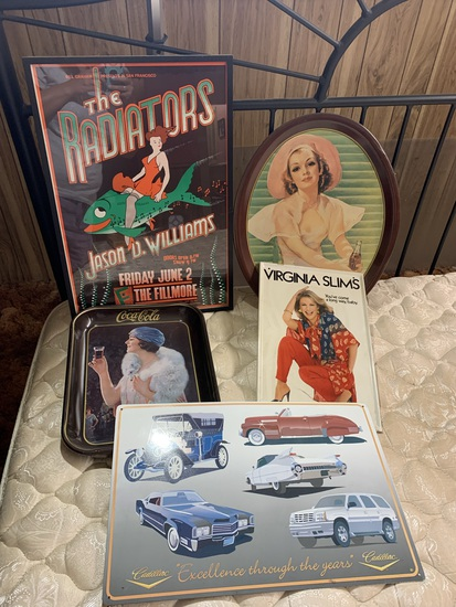 """Metal Cadillac Sign & Virginia Slims Sign. Coca-Cola Trays & 1989 """"The Radiators"""" Framed Poster"""