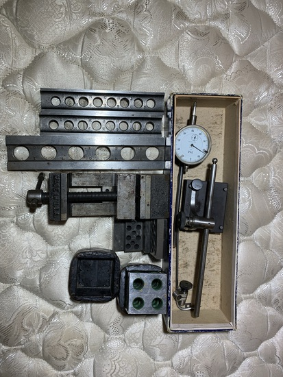 Machinist Parallels and Setup Blocks, Depth Gauge with Base & Machinist Vise