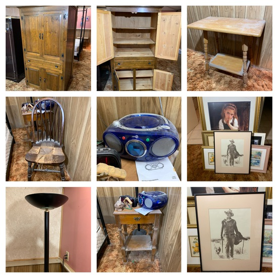 Wardrobe Armoire, 2 Side Stands, Radio, Chair, & Framed Prints