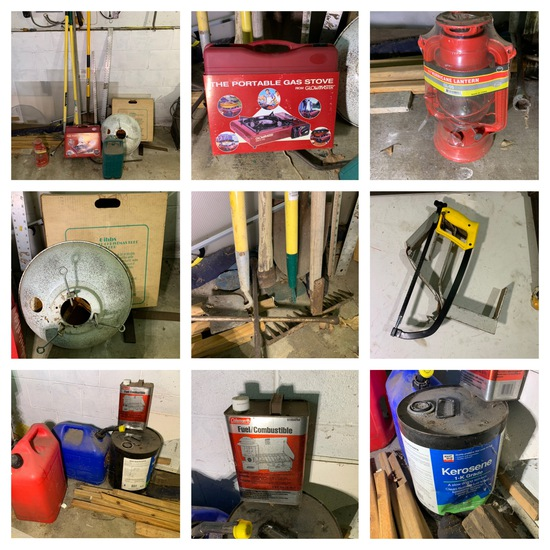 Group of Yard Tools, Rulers, Camp Stove, Lanterns, Gas Cans & More