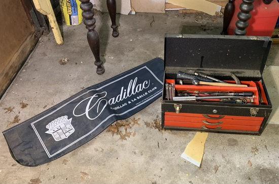 JCPenney Tool Box with Contents & Cadillac Fender Cover