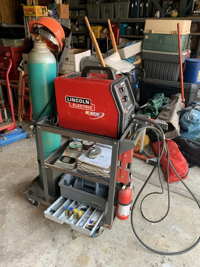 Lincoln Pro Mig 135 Welder with Tank, Cart, & Accessories.  See Photos