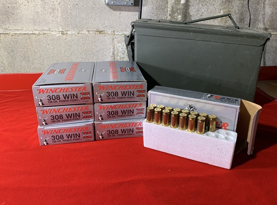 6 Full Boxes of  Winchester 308.  180 Grain Ammunition.  Addition Half Box of  308 Ammunition and Am